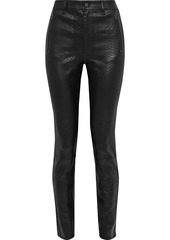 J Brand Woman Lora Snake-effect Leather Skinny Pants Black