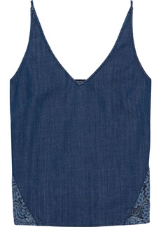 J Brand Woman Lucy Cotton-chambray And Corded Lace Camisole Dark Denim