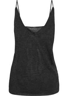J Brand Woman Lucy Metallic Stretch-knit Camisole Black