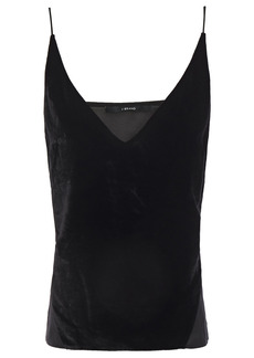 J Brand Woman Lucy Velvet And Crepe De Chine Camisole Black