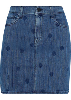 J Brand Woman Lyla Polka-dot Denim Mini Skirt Mid Denim