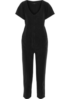 J Brand Woman Margerie Cropped Washed-twill Jumpsuit Black