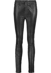 J Brand Woman Maria Metallic Suede Skinny Pants Black
