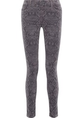 J Brand Woman Maria Snake-print Cotton-blend Velvet Skinny Pants Animal Print