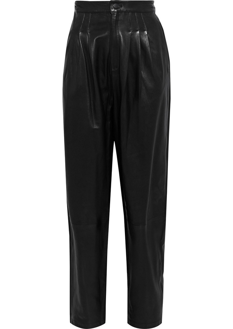 J Brand Woman Nila Pleated Leather Tapered Pants Black