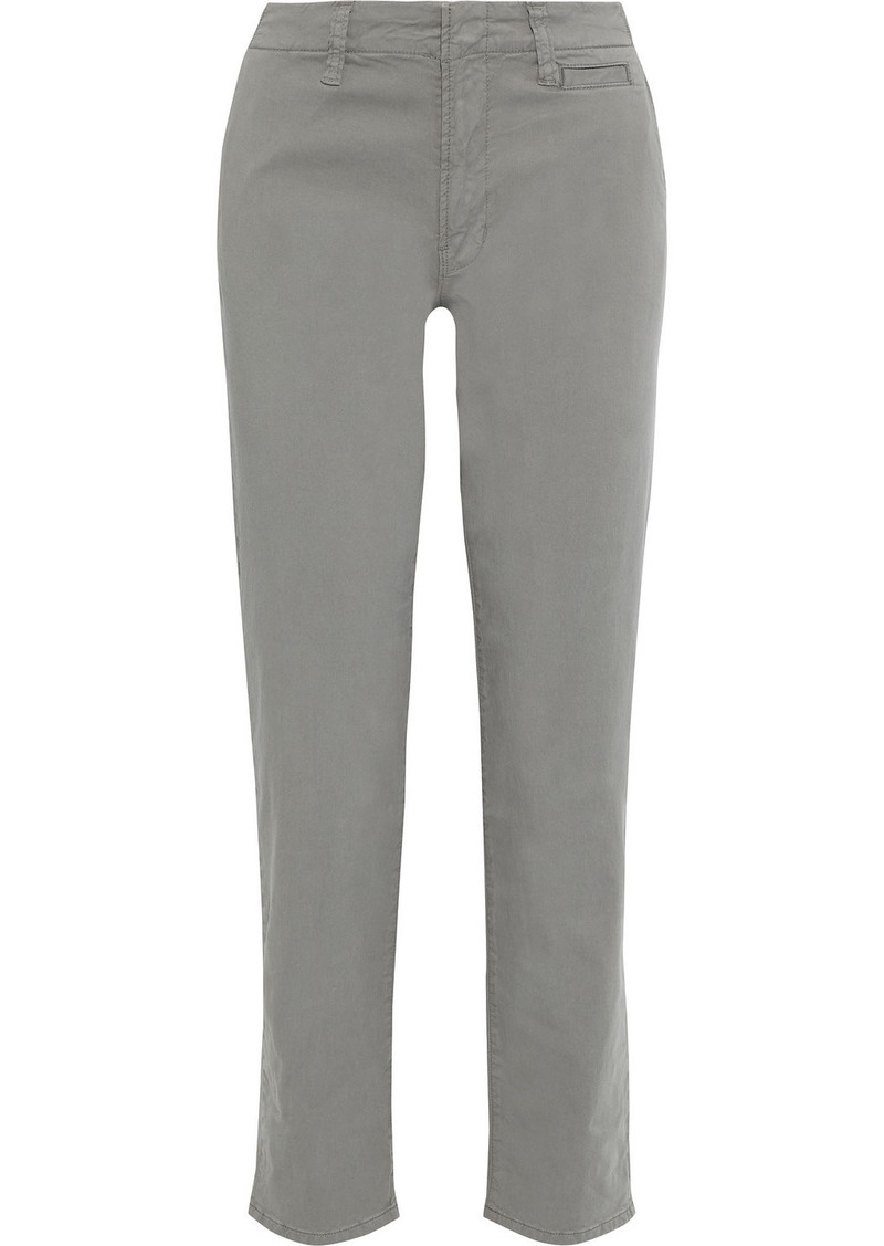 J Brand Woman Ollie Stretch-cotton Twill Slim-leg Pants Gray