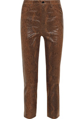 J Brand Woman Ruby Cropped Snake-effect Leather Slim-leg Pants Animal Print