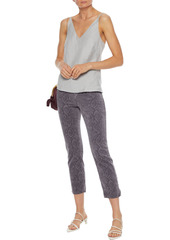 J Brand Woman Ruby Cropped Snake-print Cotton-blend Velvet Slim-leg Pants Gray