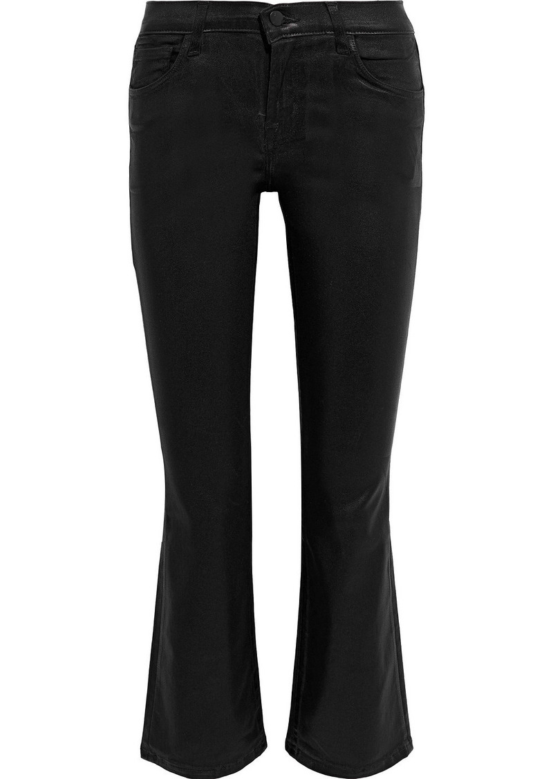 J Brand Woman Selena Coated Ponte Kick-flare Pants Black