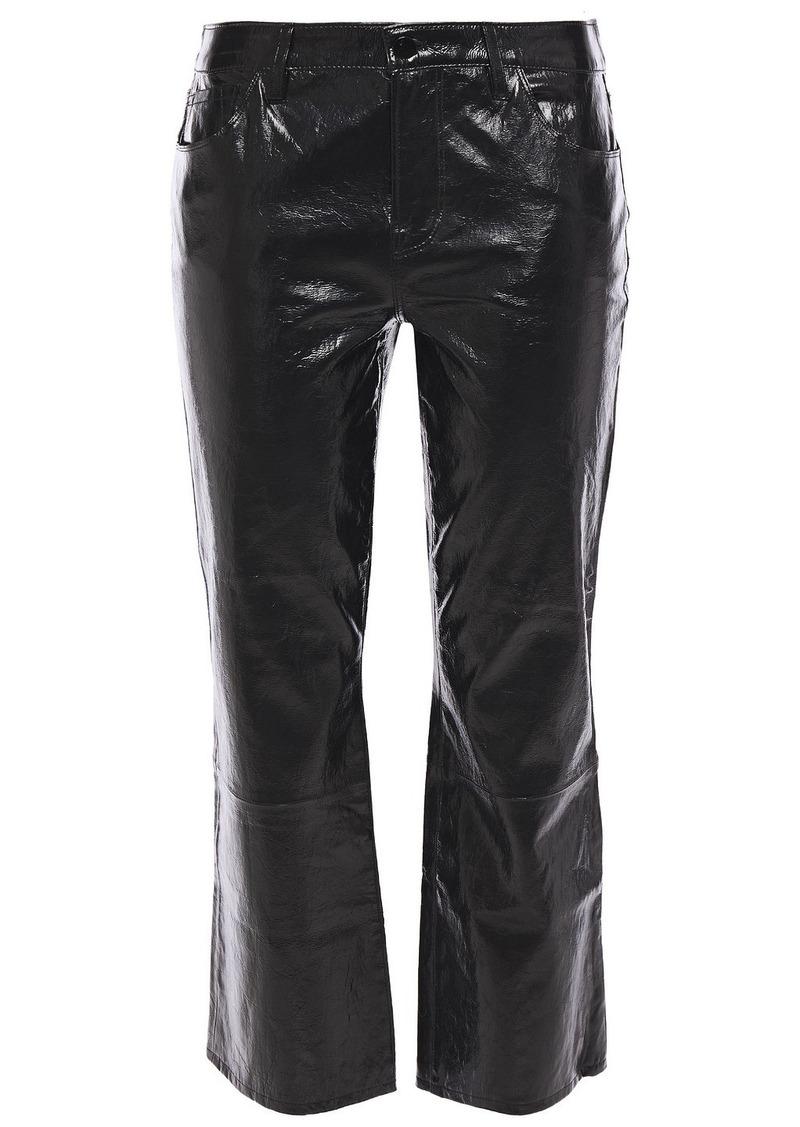 J Brand Woman Selena Cropped Crinkled Glossed-leather Slim-leg Pants Black