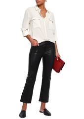 J Brand Woman Selena Cropped Leather Bootcut Pants Black