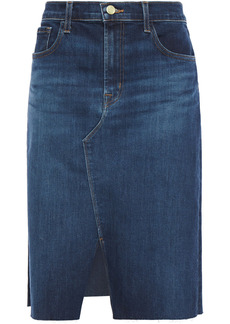 J Brand Woman Trystan Frayed Denim Skirt Dark Denim