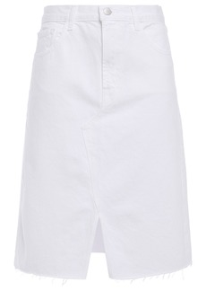 J Brand Woman Trystan Frayed Denim Skirt White