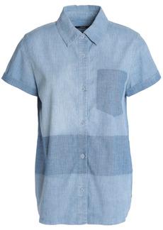 J Brand Woman Wylie Two-tone Cotton-blend Chambray Shirt Light Blue