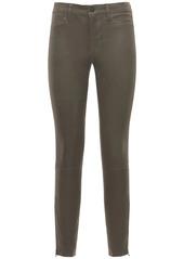 J Brand Mid Waist Super Skinny Leather  Pants