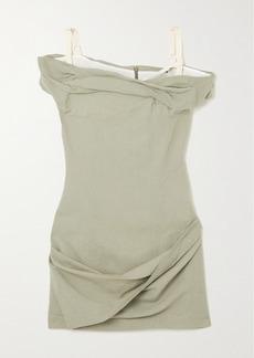 Jacquemus Foglio Off-the-shoulder Gathered Linen-blend Mini Dress