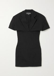 Jacquemus Gardian Layered Cutout Hemp-blend Mini Dress