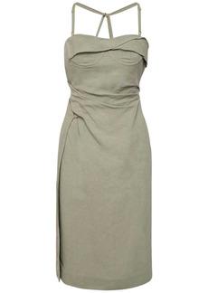 Jacquemus La Robe Laurier Linen Midi Dress W/slit