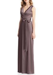 Jenny Packham Stretch Charmeuse Wrap Gown