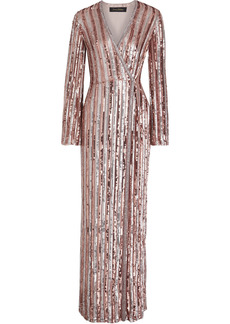 Jenny Packham Woman Embellished Chiffon Wrap Gown Antique Rose