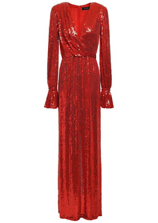 Jenny Packham Woman Wrap-effect Embellished Silk Crepe De Chine Gown Red