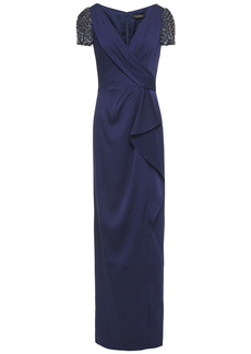 Jenny Packham Woman Wrap-effect Embellished Tulle-paneled Satin-crepe Gown Navy