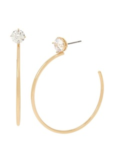 Jessica Simpson Cz Stone Hoop Earrings, 2.3""