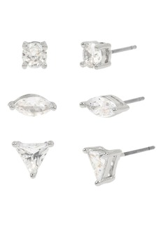"Jessica Simpson Geometric Cz Stone Stud Earrings Set, 0.2""-0.3"""