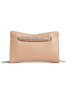 Jimmy Choo Crystal Hand Strap Leather Clutch