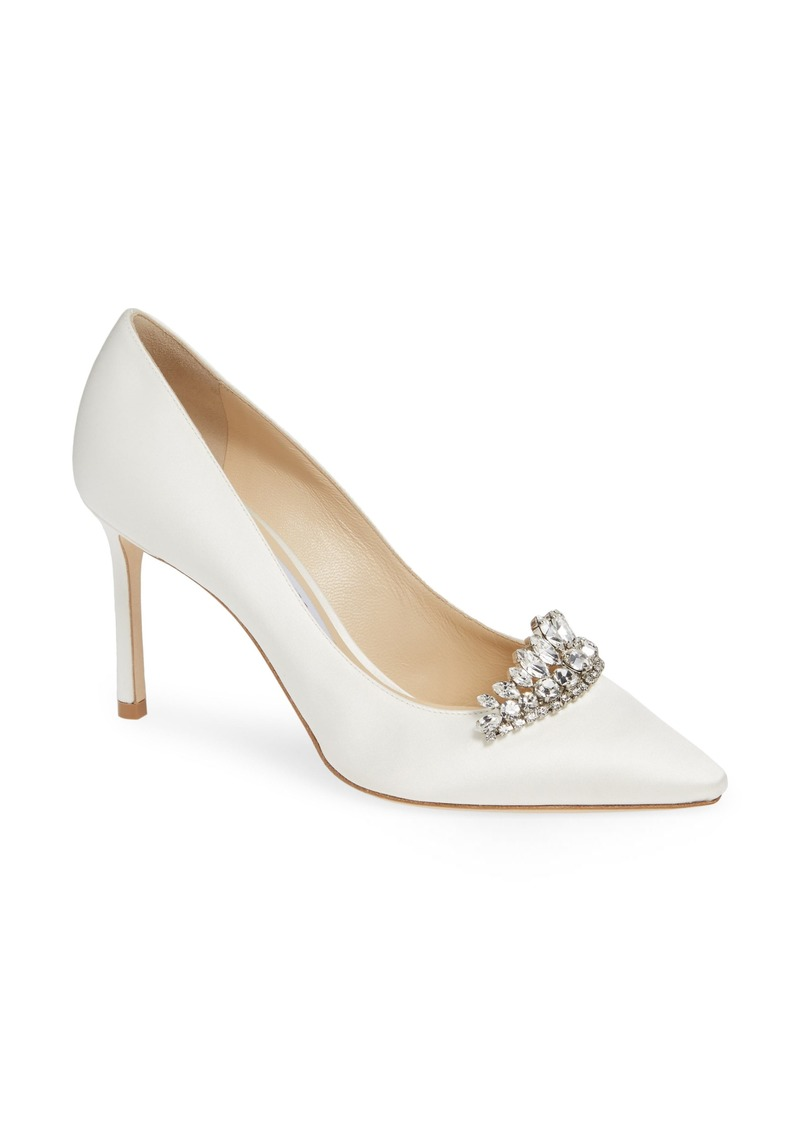 Jimmy Choo Romy Crystal Tiara Satin Pump (Women)