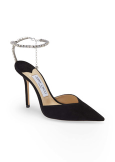 Jimmy Choo Saeda Crystal Ankle Strap Pointed Toe Pump (Women)