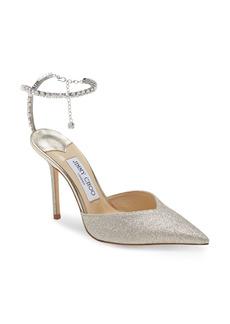 Jimmy Choo Saeda Glitter Crystal Ankle Strap Pointed Toe Pump (Women)