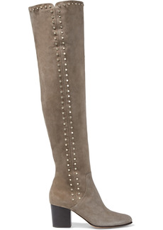 Jimmy Choo Woman Harlem 65 Studded Suede Over-the-knee Boots Gray
