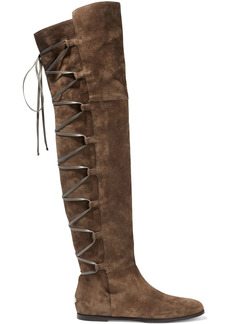 Jimmy Choo Woman Mayfair 65 Lace-up Suede Over-the-knee Boots Mushroom