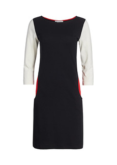 Joan Vass Colorblock Three-Quarter Sleeve Sheath Dress