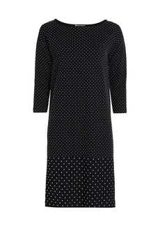 Joan Vass Petite Embellished Cotton Sheath Dress