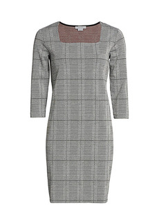 Joan Vass Petite Plaid & Houndstooth Sheath Dress