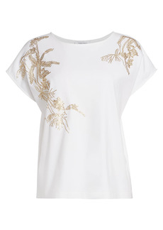 Joan Vass Petite Sequin-Embroidered Cotton T-Shirt