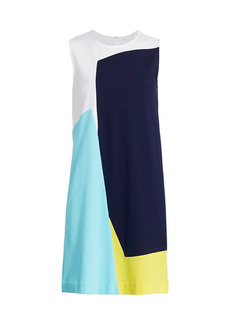 Joan Vass Sleeveless Colorblock Dress