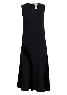 Joan Vass Sleeveless Velvet Blocked Flare Dress