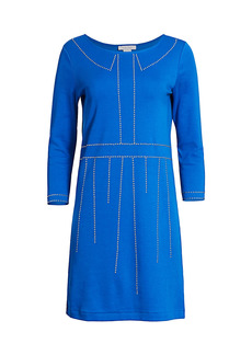 Joan Vass Trompe L'Oeil Studded Three-Quarter Sleeve Dress
