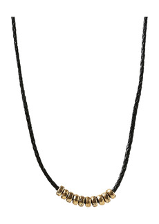 John Varvatos Frontal Bead & Braided Leather Necklace