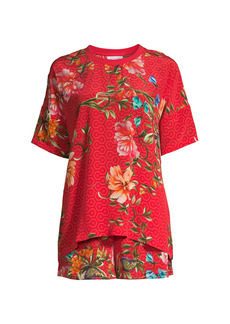 Johnny Was Annalynn Floral Silk T-Shirt & Shorts Pajama Set