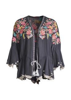 Johnny Was Bahari Floral-Embroidered Ruffle Kimono