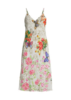 Johnny Was Caitlyn Floral Silk Slip Dress