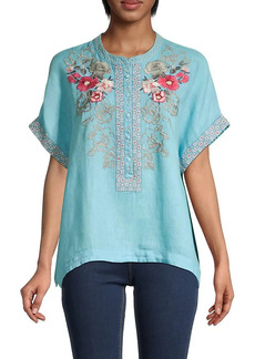 Johnny Was Embroidered Floral Linen Top