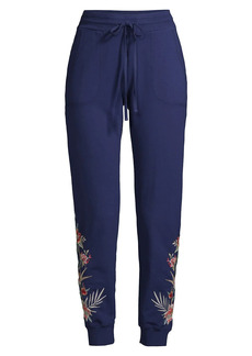 Johnny Was Floral Embroidered Joggers