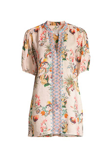 Johnny Was Floral Puff-Sleeve Tunic