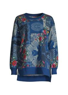 Johnny Was Flower Bandana High-Low Sweatshirt