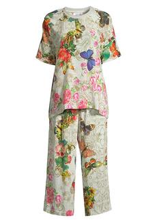 Johnny Was Jailyn Floral Silk 2-Piece T-Shirt & Pants Pajama Set